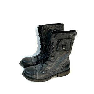 Roxy gray man made leather combat boots size 7 1/2